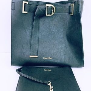 Calvin Klein Black PVC With Wristlet Large Tote